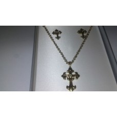Gold Cross Earring Necklace set