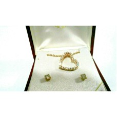 Cubic Zirconia Floating Heart Pendant and Earring set