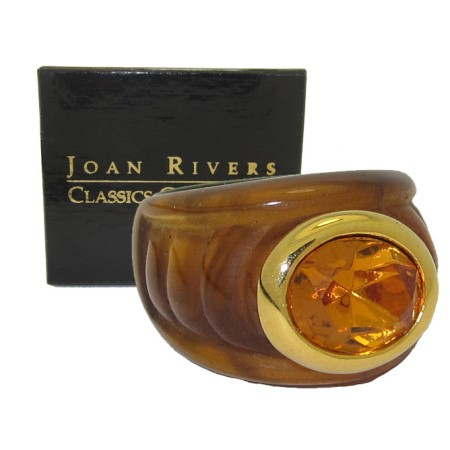 Joan Rivers Brown Lucite Smokey Topaz Boxed NWT