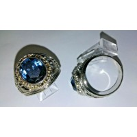 Marine Ring with deep green crystal stone set in Heavy Rhodium