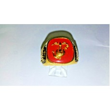 Marine Ring with Red and Gold Military insignia