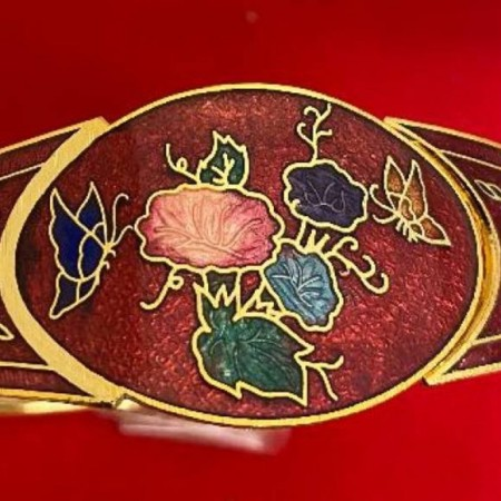Red Cloisonne and Yellow Gold Plated Hinged Bangle Bracelet