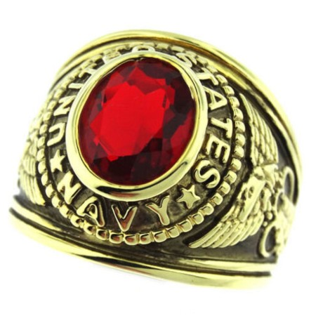 US Navy Ring with red crystal set in heavy 18 karat antiqued gold