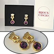 Bijoux Cascio Earrings gold cllip crystal amethyst NWT