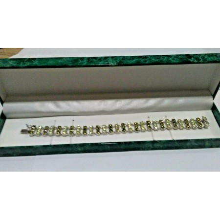 Suzanne Somers CZ Tennis Bracelet Two Tone Peridot Green and White