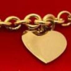 925 Sterling Silver Vermeil Heart charm bracelet