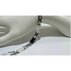 Black Onyx, Marcasite and Mother of Pearl bracelet