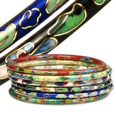 Cloisonne Bracelets BLACK WHITE or BLUE