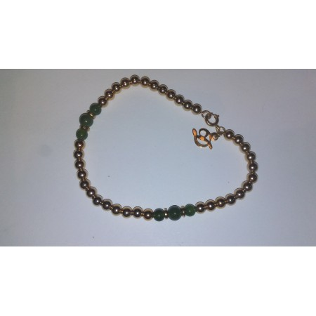 Gold Filled Beads and Genuine Green Jade Bracelet