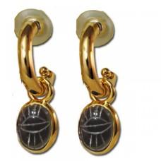Scarab Gold plated hoop drop earrings Black Jade
