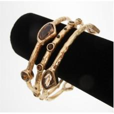 Genuine Chico's Wholesale Bracelet 3 Bracelet set in Hammered brushed gold set with Smokey Topaz