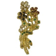Semi Precious and Precious Stone Bouquet Pin Brooch Sterling Silver