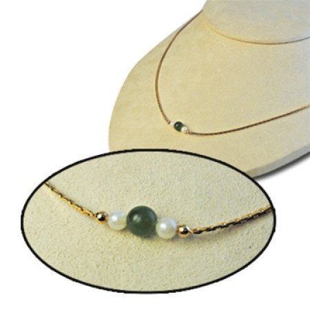 Genuine Round Green Jade and 12 karat Gold Filled Necklace