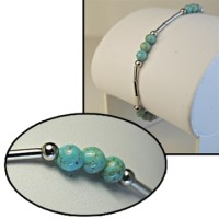 Genuine Turquoise and Sterling Silver Bead Bracelet