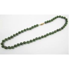 Hand Knotted Green Jade Round Bead Necklace NWT 10 mm 18 inches