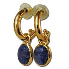Scarab Gold plated hoop drop earrings Blue Sodalite
