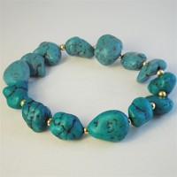 Genuine Turquoise Large Nuggets Bracelet