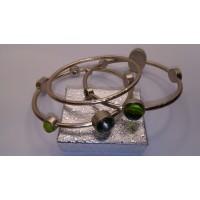 3 Pcs Bracelet set with Olive and light smokey topaz stones on hammered silver