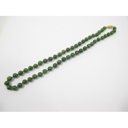 Hand Knotted Green Jade Round Bead Necklace NWT 8 mm 24 inches