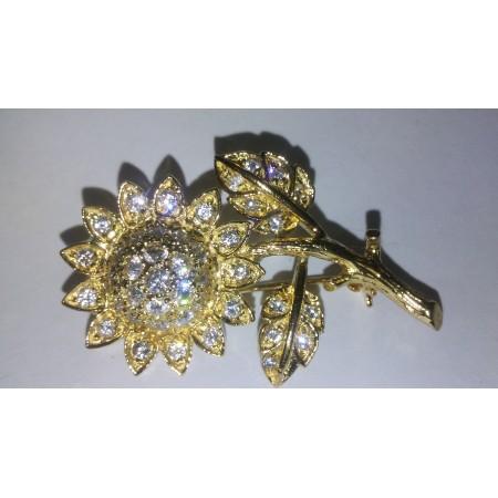 Sun Flower Brooch in 925 Sterling Silver 24 Kt Yellow Gold Vermeil