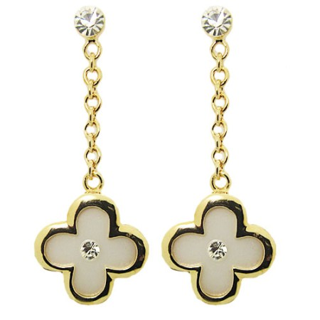 Cz & Gold earring with white mother of Pearl