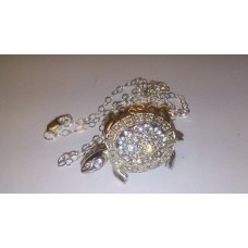 TURTLE 925 Sterling with Chain CZ Pendent and Brooch