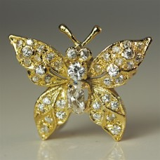 Butterfly Brooch in 925 Sterling Silver and 24 Kt Yellow Gold Vermeil
