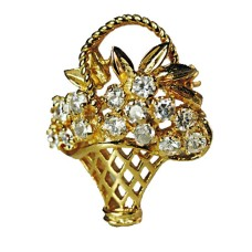 Flower Basket Brooch in 925 Sterling Silver 24 Kt Yellow Gold