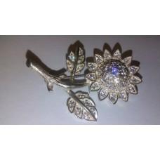 Sun Flower in 925 Sterling Silver Brooch