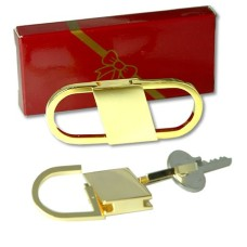 Pull and Twist Style Key Ring in Heavy Gold