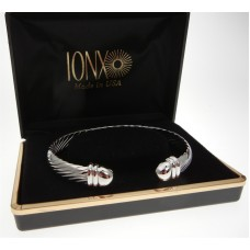 IONX Silver Cuff Cable Therapy Bracelet Gift Boxed Made in USA