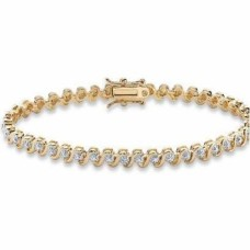 Cubic Zirconia Heavy Yellow Gold plate Tennis Bracelet