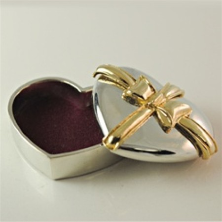 Silver and Gold Trinket Box Heart box
