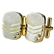 Mens Gold Plate Cuff Links Cubic Zirconia