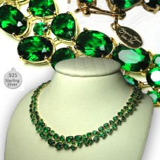 Suzanne Somers gold emerald necklace