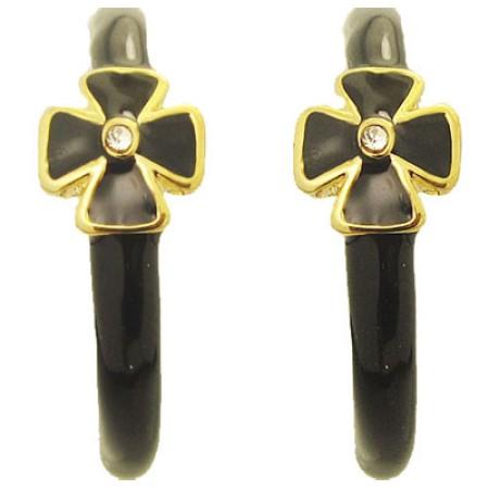 Black MX Wholesale Enamel Hoop Earrings with Crystal
