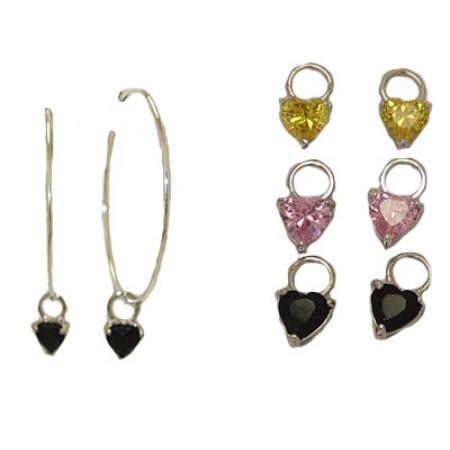 3 Pairs of Charms with Hoop Earrings