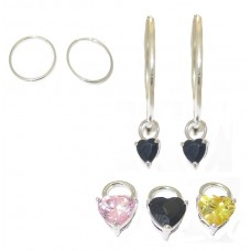 CZ Heart Charms with Hoop Earring 3 Pair