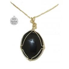 Black Onyx Pendant set in 925 Sterling Silver
