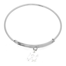 Expandble Bracelet in Sterling Plate And Sterling Charm KISSING KIDS