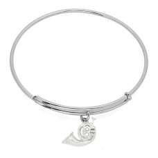 Expandble Bracelet in Sterling Plate And Sterling Charm french horn