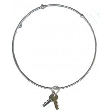 Expandble Bracelet in Sterling Plate And Sterling Charm Key