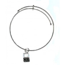 Expandble Bracelet in Sterling Plate & Sterling Charm Lap Top Computer