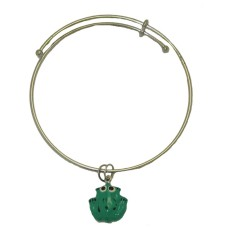 Expandble Bracelet in Sterling Plate And Sterling Charm Frog