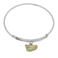 Expandble Bracelet in Sterling Plate And Sterling Charm