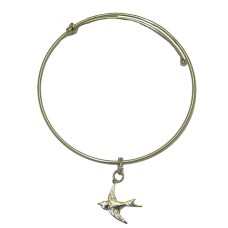 Expandble Bracelet in Sterling Plate And Sterling Charm Bird