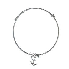 Expandble Bracelet in Sterling Plate And Sterling Charm Anchor