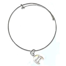Expandble Bracelet in Sterling Plate And Sterling Charm Good Luck