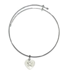 Expandble Bracelet in Sterling Plate And Sterling Charm Heart