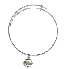 Expandble Bracelet in Sterling Plate And Sterling Charm Just Married